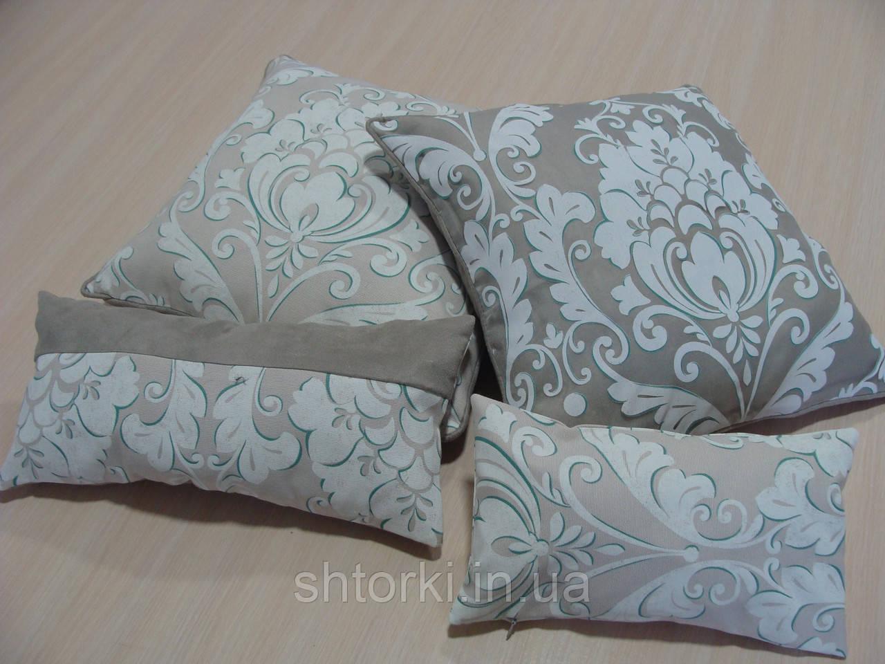 Комплект подушек серо бежевые 4шт