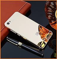 Металлический бампер Epik с акриловой вставкой с зеркальным покрытием на Xiaomi Redmi Note 5A/ Y1 Lite Gold