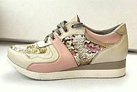 Женские золотистые кроссовки с паёетками , фото 1