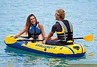 Двухместная надувная лодка Intex 68367 Challenger 2 Set с веслами и насосом (236*114*41 см)