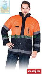 Куртка зимняя со светоотражающими полосками рабочая Reis Польша (спецодежда сигнальная) BLUE-ORANGE GP