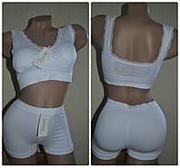Комплект бесшовный Lemila 982 (топ +шорты) белый