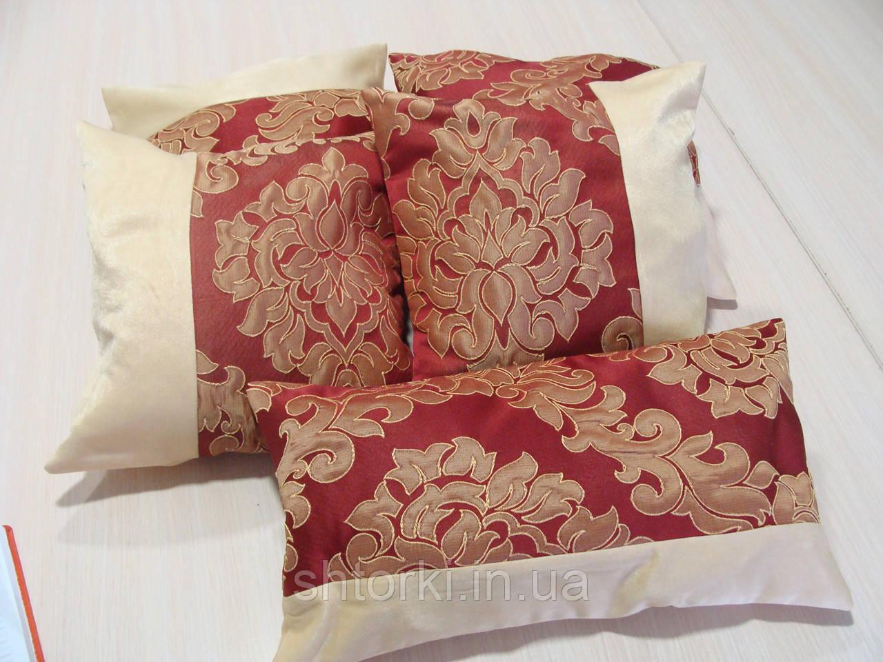 Комплект подушек бордо с песочным коронки 5шт