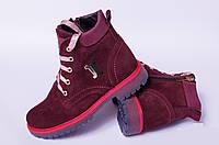 Ботинки замшевые подростковые, детская обувь кожаная от производителя модель ДЖ6023