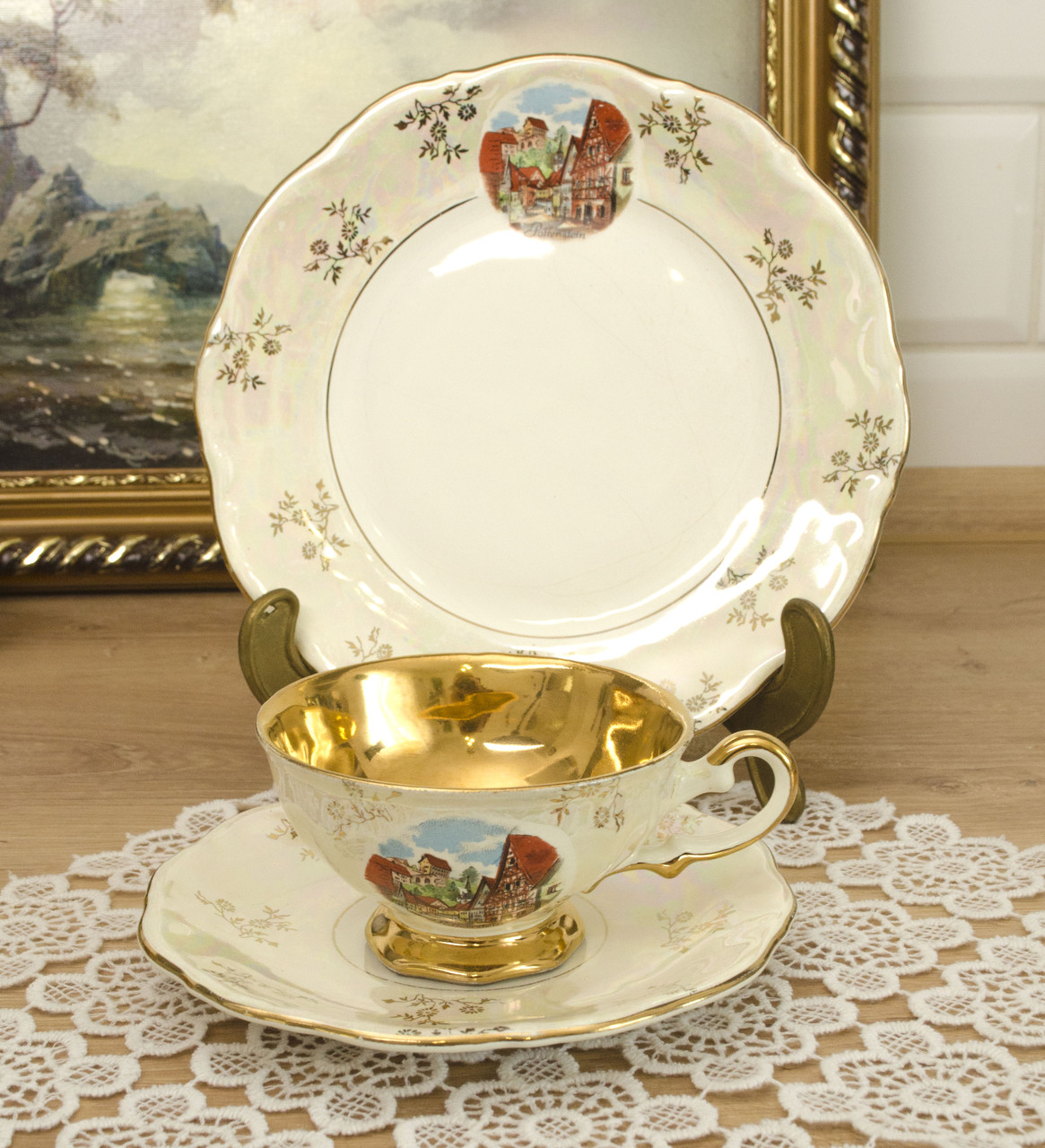 Винтажная чайная тройка, чашка, блюдце, тарелка, KHM, Германия, фарфор