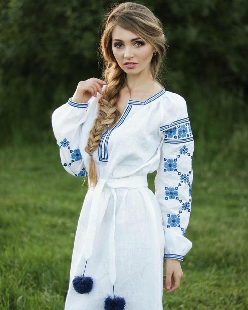 d22dbec47be3c7 Вишите жіноче плаття білого кольору (100%-льон) - Интернет-магазин