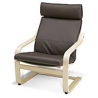 IKEA POANG Кресло, ok березы, Прочный Glose темно-коричневый  (898.291.19)