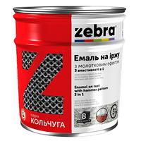 """Эмаль 3 в 1 молотковая """"Zebra"""" серия """"Кольчуга"""" серая 0,75 л"""
