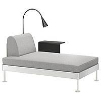 IKEA DELAKTIG Шезлонг со столом и лампой, Tallmyra белый / черный  (892.599.01)