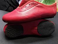 Джазовки кожаные низкие красные