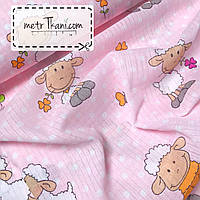Муслиновая ткань овечки на розовом № 2-32
