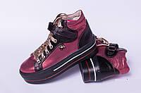 Ботинкиподростковые на липучке, детская обувь кожаная от производителя модель ДЖ6024