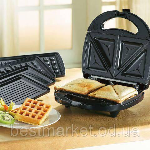 Сэндвичница Бутербродница Вафельница 3 в 1 Domotek MS-0770 Тостер