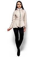 Весенняя куртка из плащёвки на молнии, с баской, бежевая, размер 46-48