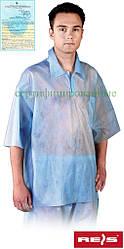 Блуза полипропиленовая для косметических работ голубая REIS Польша (одежда медицинская) BFI N