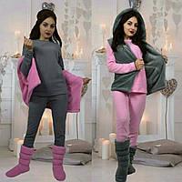 Женский или подростковый домашний костюм пижама +жилетка +сапожки турецкая пушистая махра 42-44 44-46 46-48