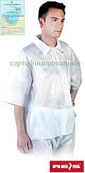 Блуза медицинская рабочая белая REIS Польша (спецодежда для химической и пищевой промышленности) BFI W