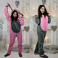 Женская или подростковая цельная пижамка кенгуру турецкая пушистая махра размер -универсальный 42-44-46