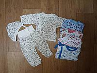Комплект для новорожденного (распашонка, ползуны, чепчик), цветной кулир, р.18