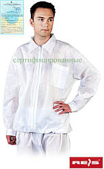 Блуза рабочая для лабораторий белая REIS Польша (медицинская форма для лабораторий) BFILS W