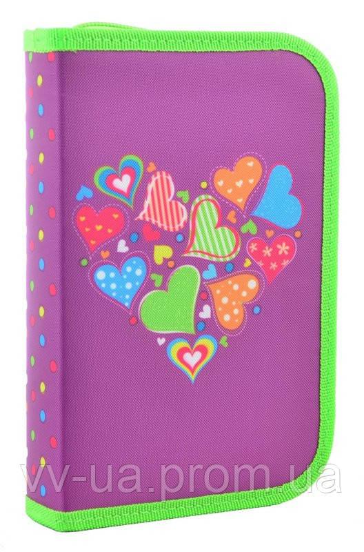 Пенал для школы твердый одинарный с двумя клапанами Smart Hearts purple, 20.5*13*3.6