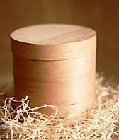 Эко упаковка круглые формы с крышкой из дерева (шпона) форма с размерами 145*145 мм