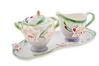"""Фарфоровый набор молочник и сахарница """"Орхидея"""" (Pavone) FM- 37/ 2"""