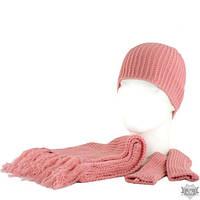 Вязаный розовый женский комплект шарф, шапочка, митенки TRAUM