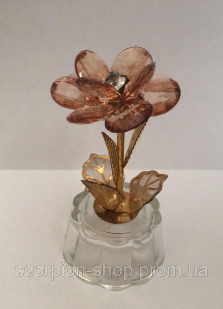 "Фигурка  ""Цветок"" (8.5 см) металл, стекло"