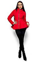 Весенняя куртка из плащёвки на молнии, с баской, красная, размер 46-48