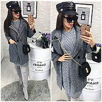 Пальто-производство Китай Ткань -букле-подкладка-атлас Цвета-серый яя№01582