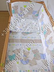 Детское постельное белье в кроватку, постельный комплект Мишки звездочки