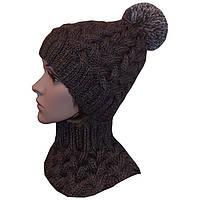Женская вязаная шапка в стиле Лало с помпоном, объемной крупной вязки косами.