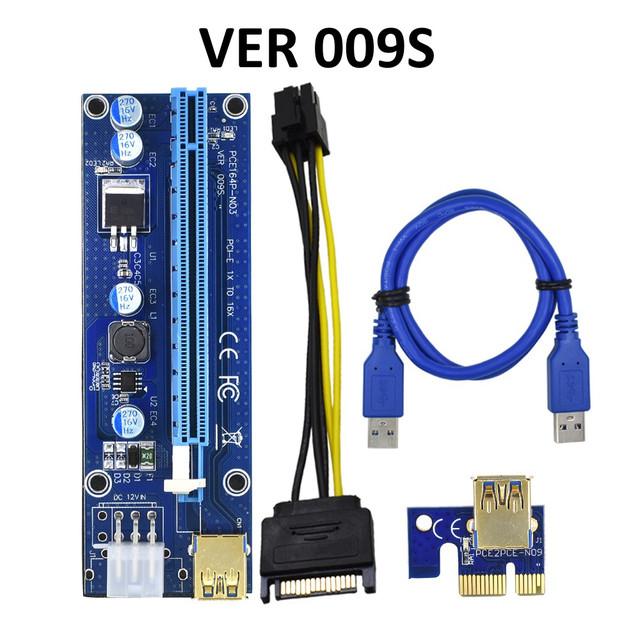 PCI express, PCI-e riser райзер 1X на 16X с помощью USB 3.0 кабеля длиной 50см., BTC VER 009S