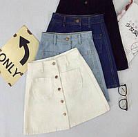 Модная, женская, джинсовая мини-юбка на пуговицах. РАЗНЫЕ ЦВЕТА
