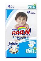 Подгузники GOO.N для детей 9-14 кг размер L, на липучках, унисекс, 54 шт(853623)