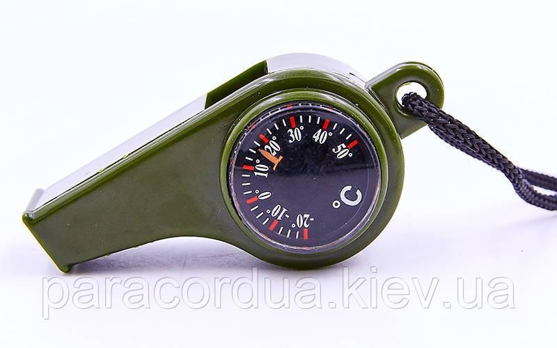 Свисток с компасом пластиковый,термометр,компас