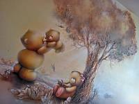 Художественная роспись с элементами барельефа (Семья Тедди)