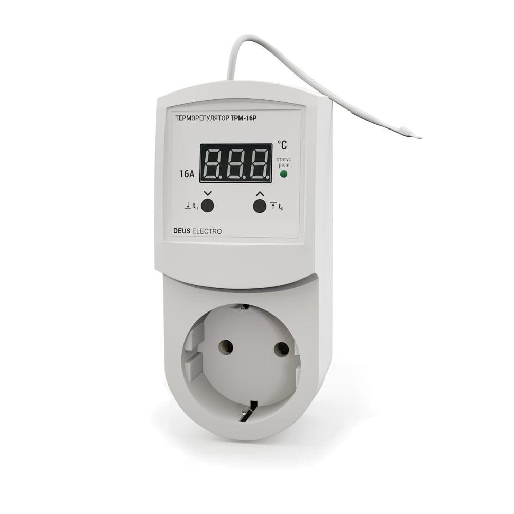 Терморегулятор цифровой в розетку для ИК-панелей, обогревателей, конвекторов DEUS ELECTRO ТРМ-16Р