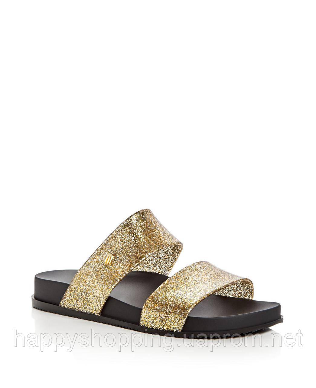 Женские летние пахнущие золотистые шлепанцы бразильского бренда Melissa