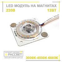 Светодиодный модуль 220В 12Вт на магнитах для установки в светильники 3000К-4500К-6000К