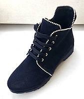 Ботинки из темно синей замши, фото 1
