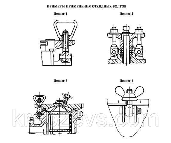 Примеры применения откидных болтов ГОСТ 3033-79