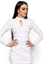 Короткое платье с асимметричным низом и длинным рукавом белое, фото 3