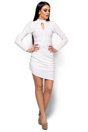 Короткое платье с асимметричным низом и длинным рукавом белое, фото 2