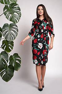Платье Моника 0311_5 Чёрное с принтом