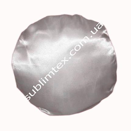 Подушка атласная,натуральный наполнитель, круглая белая, метод печати сублимация, размер 33х37см, фото 2