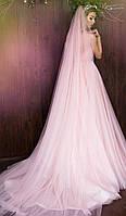 Мягкая фата шлейф  розовый кварц 2 метра, фото 1