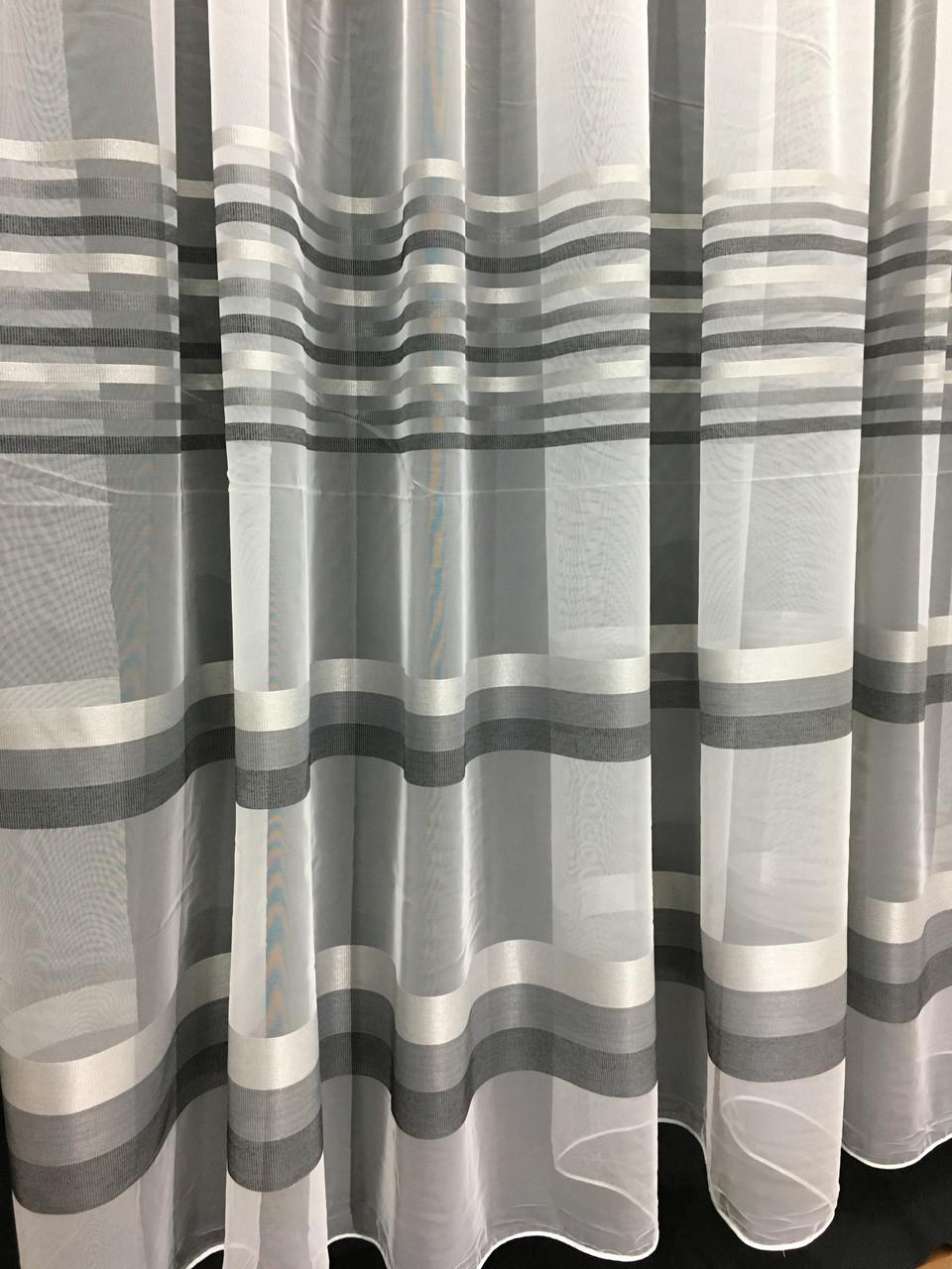Тюль Полоска Серый, микросетка с вышивкой