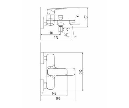 Змішувач для ванни Imprese Loket 10230, фото 2